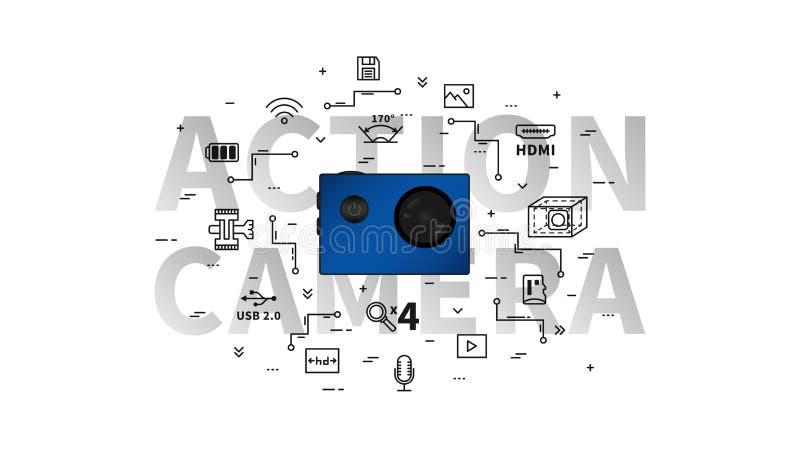 Akci kamery wektoru ilustracja ilustracja wektor