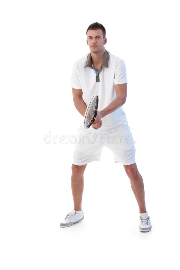 akci męski gracza tenis obrazy stock