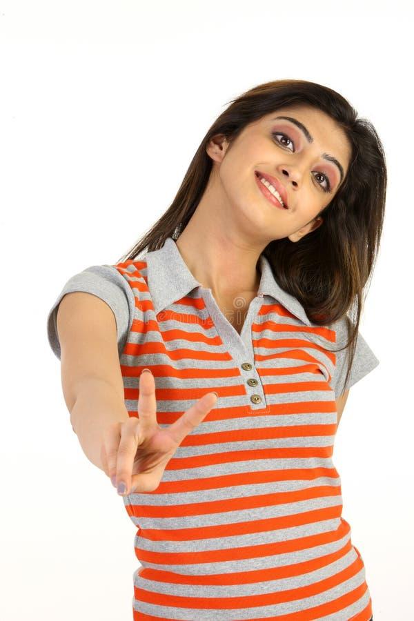 akci modny dziewczyny zwycięstwo obrazy stock