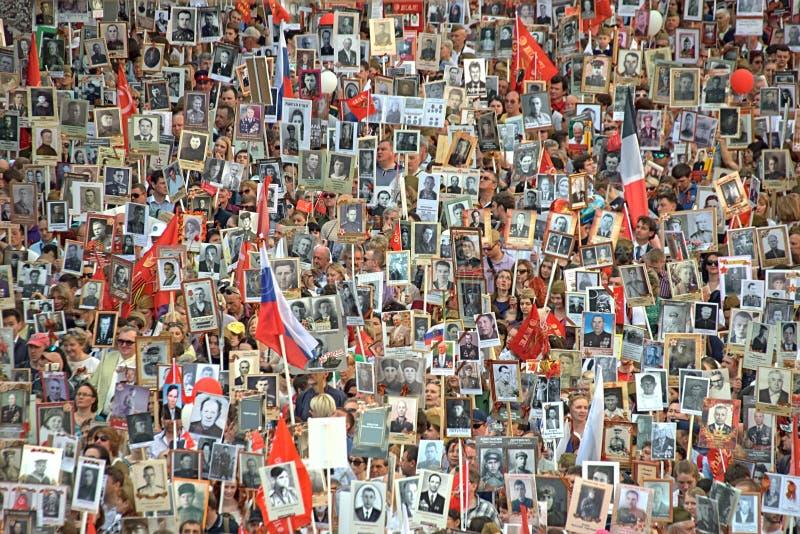 Akci ` pułku Nieśmiertelny ` podczas zwycięstwo parady moscow Rosji obrazy stock