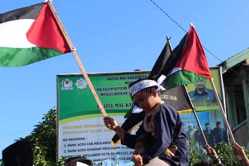 Akci solidarność Aceh dla palestina fotografia stock