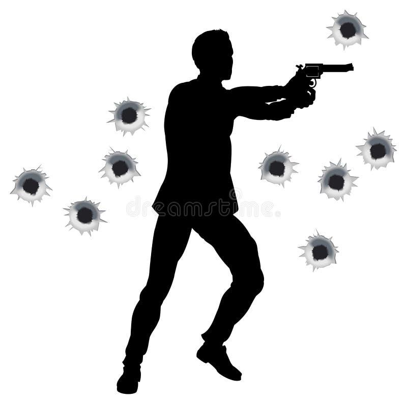 akci walki pistoletu bohatera sylwetka ilustracja wektor