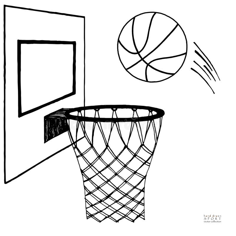 Akci wektorowa ilustracja iść w obręcz koszykówka Backboard, obręcz, pierścionek, sieć, zestaw Ręka rysujący nakreślenie czerń da royalty ilustracja