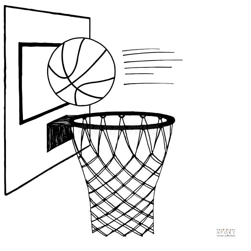 Akci wektorowa ilustracja koszykowa piłka i backboard, obręcz, pierścionek, sieć, zestaw Ręka rysujący nakreślenie czarny white ilustracji