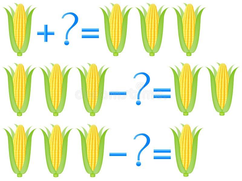 Akci związek dodatek i odejmowanie, przykłady z kukurudzą Edukacyjne gry dla dzieci ilustracja wektor