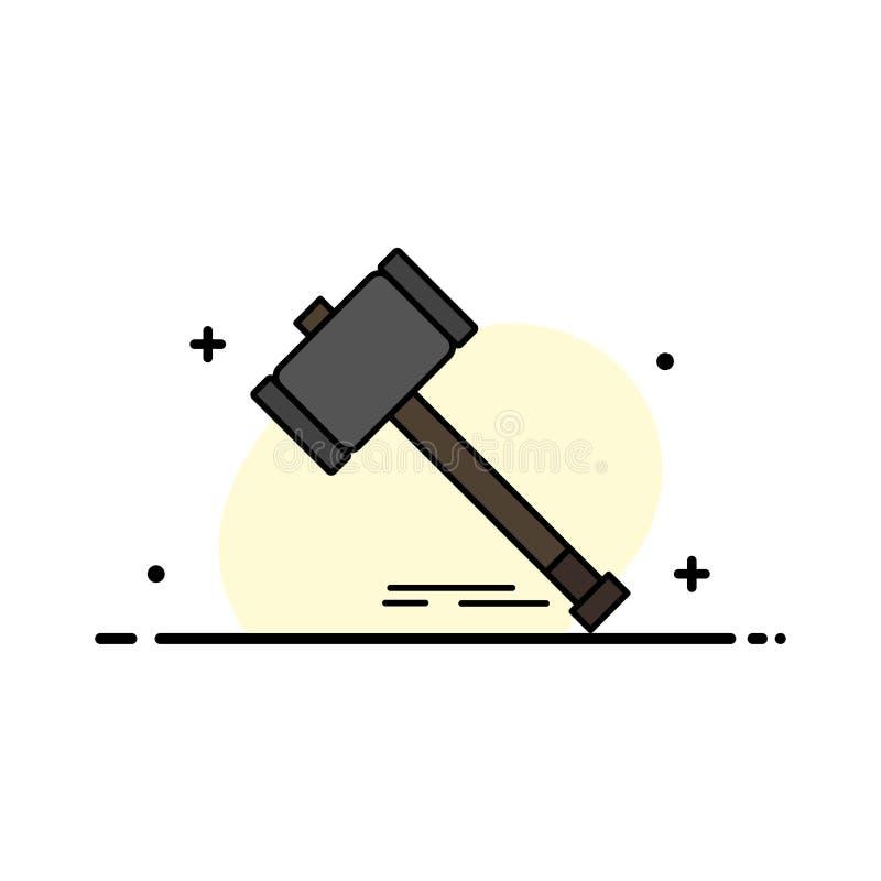 Akcja, aukcja, sąd, młoteczek, młot, prawo, Legalna Biznesowa linia Wypełniający mieszkanie ikony sztandaru Wektorowy szablon royalty ilustracja