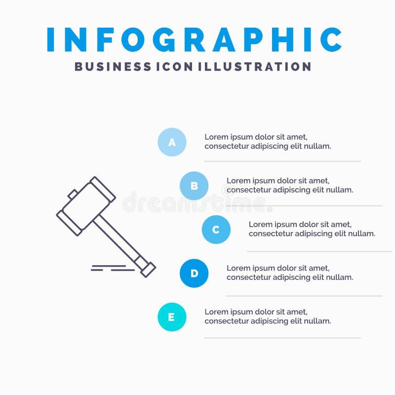 Akcja, aukcja, sąd, młoteczek, młot, prawo, Legalna Kreskowa ikona z 5 kroków prezentacji infographics tłem ilustracja wektor