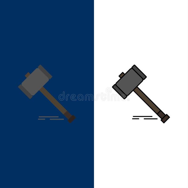 Akcja, aukcja, sąd, młoteczek, młot, prawo, Legalne ikony Mieszkanie i linia Wypełniający ikony Ustalony Wektorowy Błękitny tło ilustracja wektor