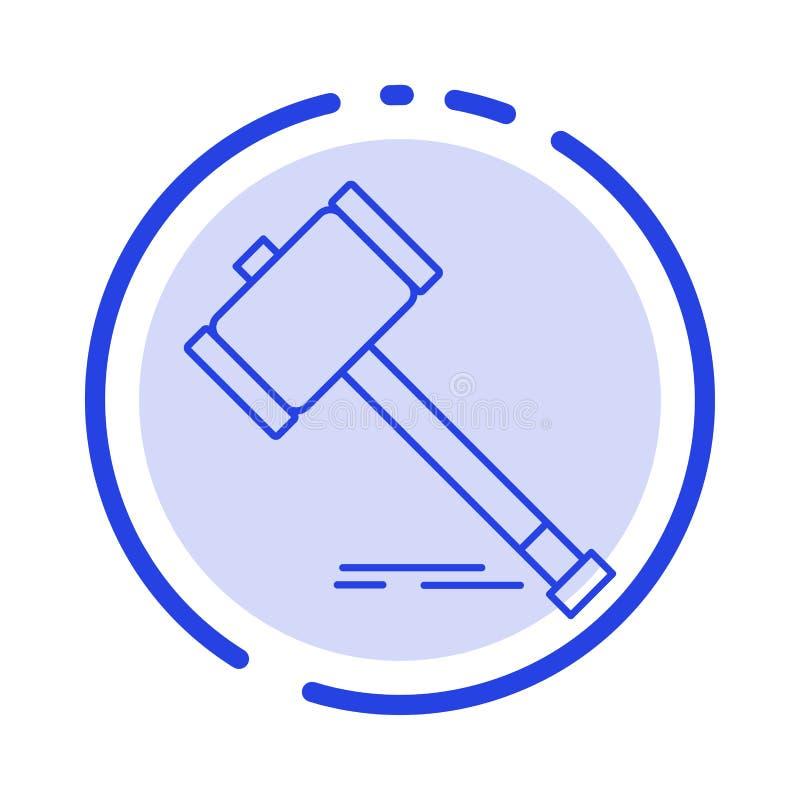 Akcja, aukcja, sąd, młoteczek, młot, prawo, Legalny błękit Kropkująca linii linii ikona royalty ilustracja