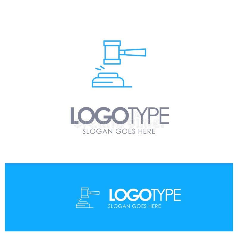 Akcja, aukcja, sąd, młoteczek, młot, sędzia, prawo, Legalny Błękitny konturu logo z miejscem dla tagline ilustracji