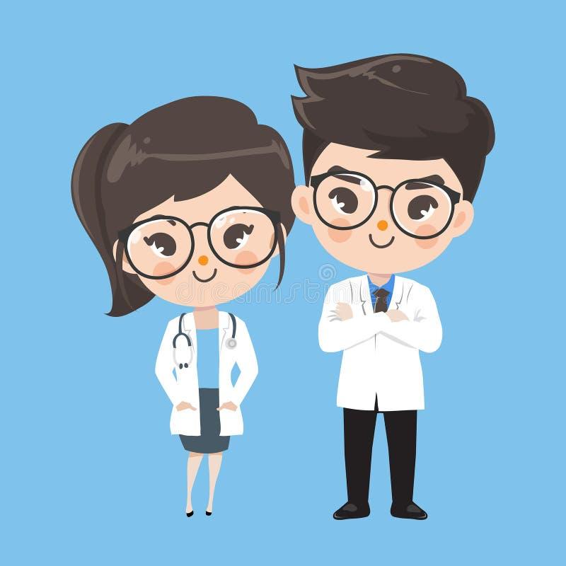 Akcja charakteru lekarki śliczny uśmiech royalty ilustracja