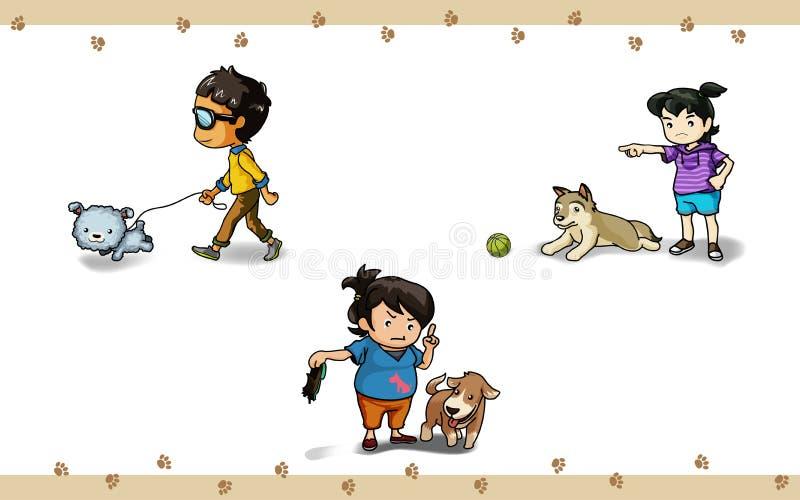 Akcja z psem royalty ilustracja