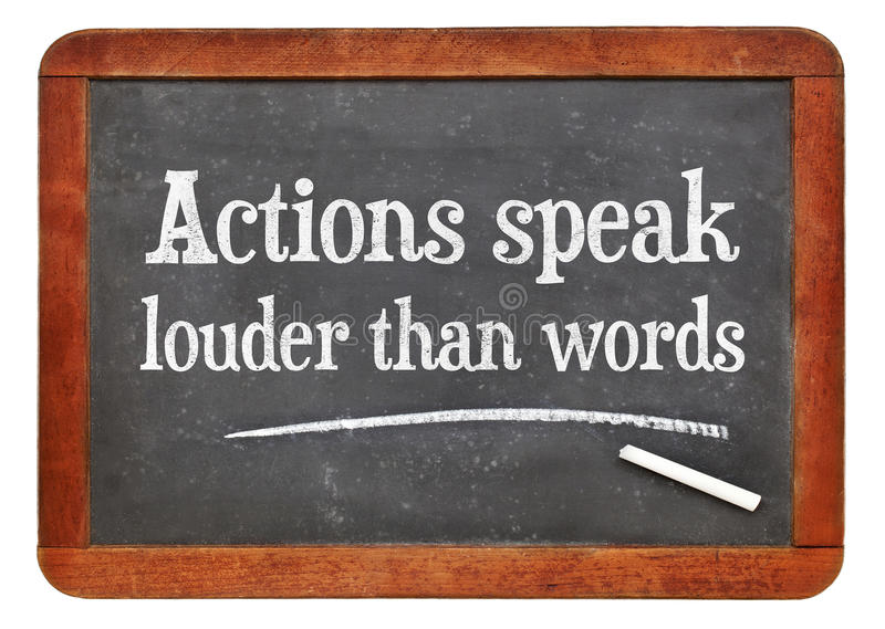 Akcje mówją głośnego niż słowa fotografia stock