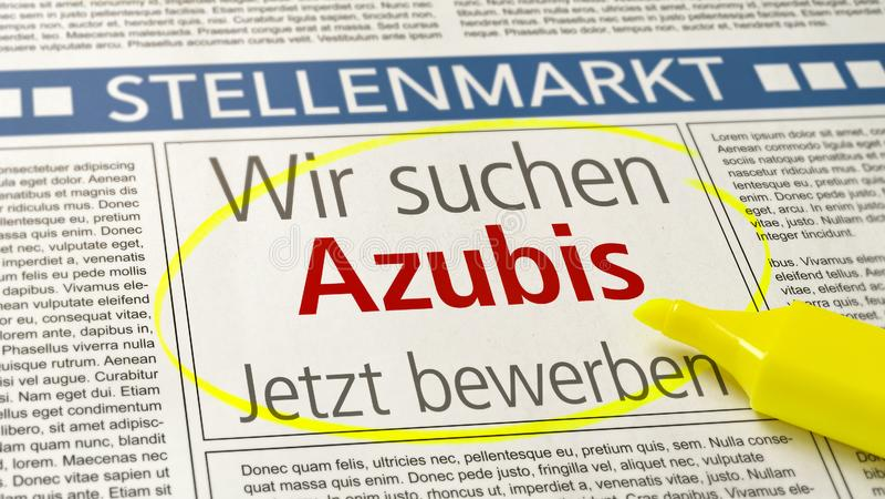 Akcydensowa reklama w gazecie Wir suchen Azubis niemiec - aplikanci chcieć - obrazy stock