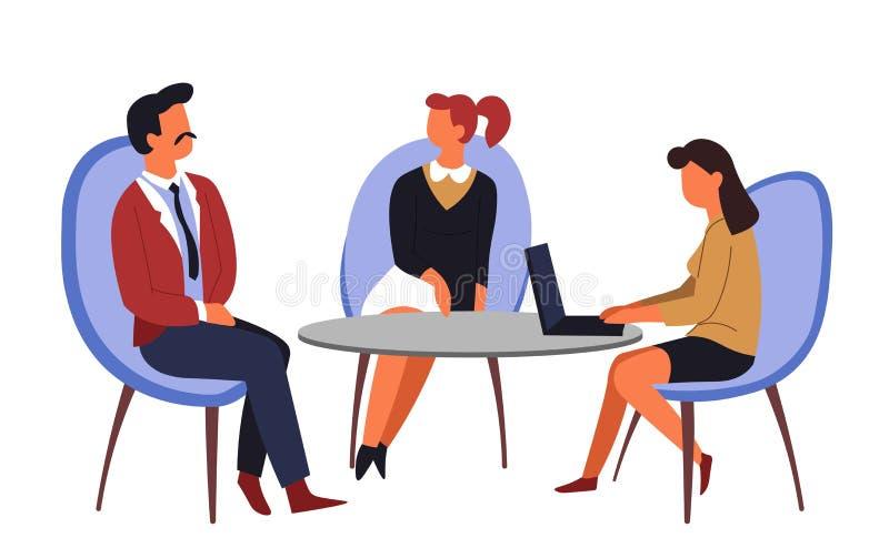 Akcydensowego wywiadu zatrudnieniowy mężczyzna i kobiety zgłaszamy i krzesła ilustracja wektor