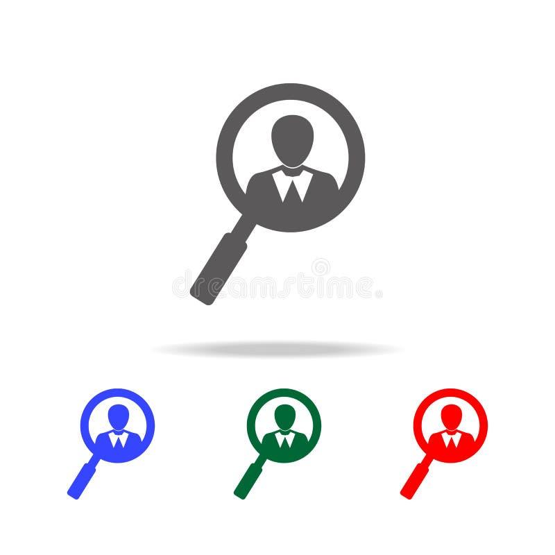 Akcydensowej rewizi loga projekta ikona Elementy dział zasobów ludzkich w wielo- barwionych ikonach Biznes, działu zasobów ludzki royalty ilustracja
