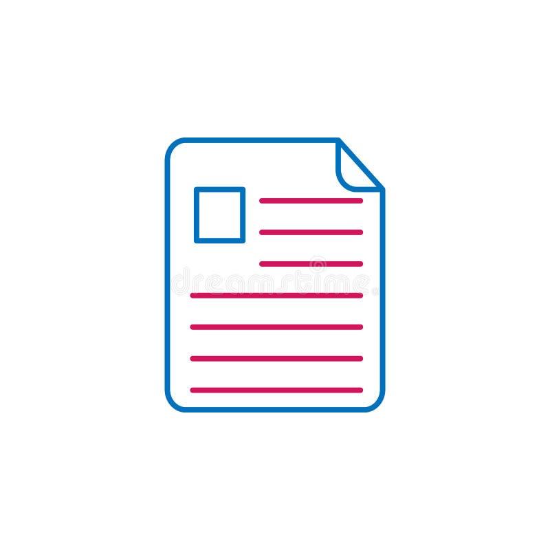 Akcydensowy życiorys, wznawia 2 barwiącą kreskową ikonę Prosta barwiona element ikona Akcydensowy życiorys, życiorysu konturu sym royalty ilustracja