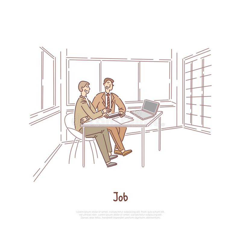 Akcydensowy wywiad, pracodawca i kandydat dyskutuje zatrudnieniowego kontrakt, partnery biznesowi, pracownicy brainstorming sztan ilustracja wektor