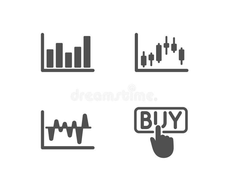 Akcyjna analiza, Szpaltowa mapa i Candlestick wykres ikony, Kupować znaka ilustracji