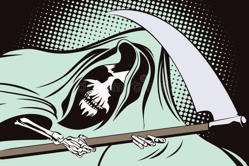 Akcyjna ilustracja w retro stylowej wystrzał sztuce i rocznik reklamie ponury żniwiarz ilustracja wektor