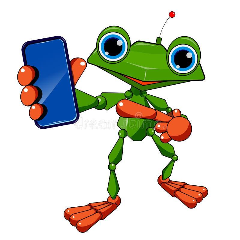 Akcyjna Ilustracyjna robot żaba, Smartphone i ilustracji