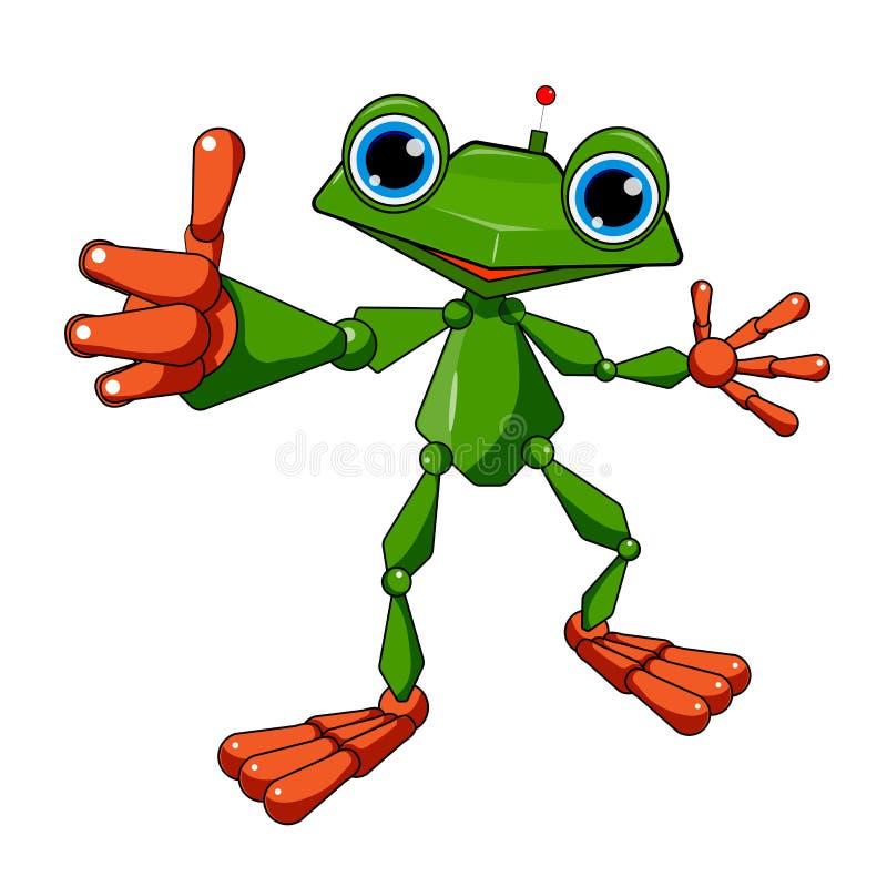 Akcyjna Ilustracyjna Rozochocona robot żaba ilustracja wektor