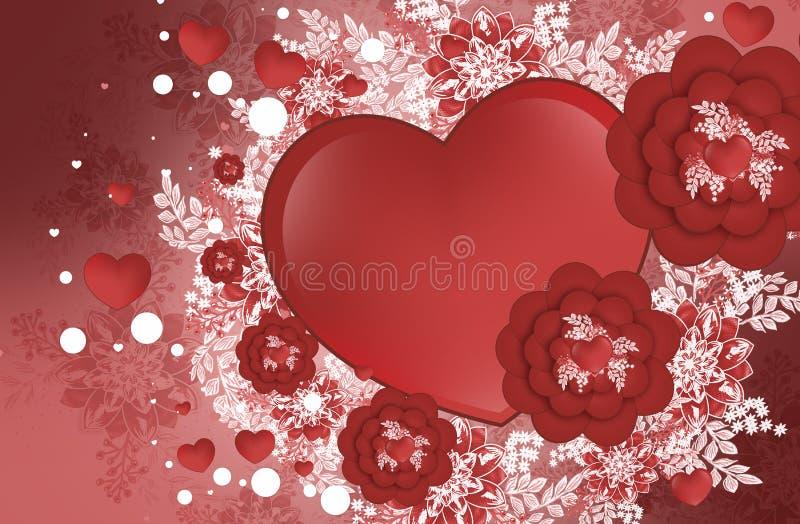Akcyjna Ilustracyjna walentynki, serce, kwitnie royalty ilustracja