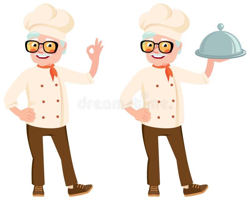 Akcyjna wektorowa ilustracja starszy kucharz w kapiszonie royalty ilustracja