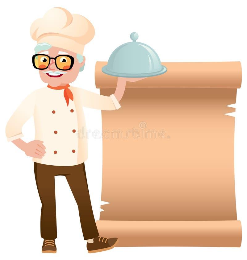 Akcyjna wektorowa ilustracja starszy szef kuchni z naczynie ręką na sztandarze royalty ilustracja