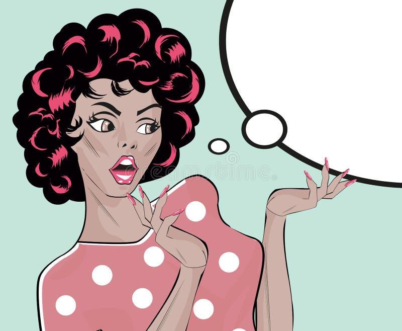 Akcyjna Wektorowa ilustracja Szokująca Gal kobiety klamerki Retro sztuka ilustracji