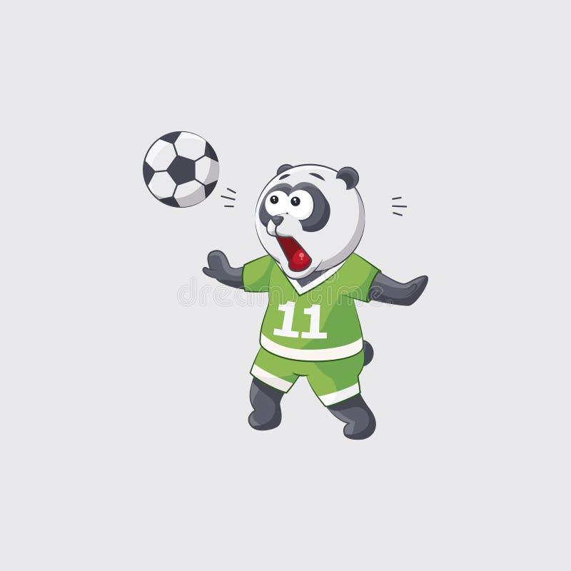 Akcyjna wektorowa ilustracyjna majcheru emoji emoticon emocja odizolowywał ilustracyjnego charakteru kopacza pandy gracza futbolu royalty ilustracja