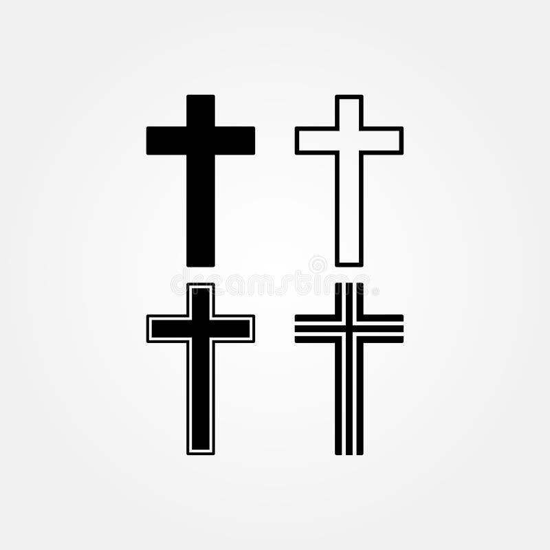 Akcyjna wektorowa religia krzyża ikona ustawia 2 ilustracji