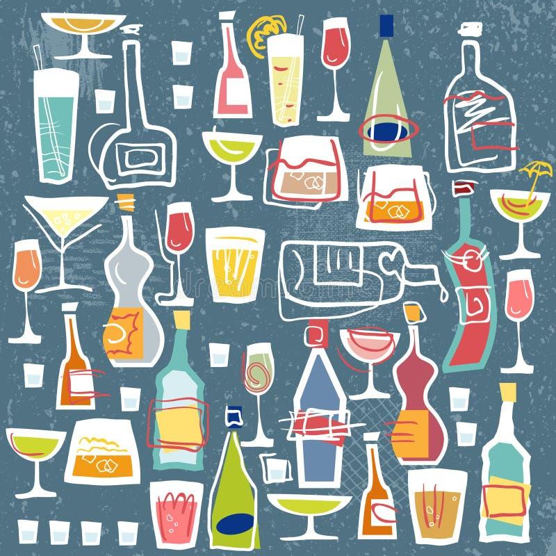 Akcyjne Wektorowe ilustracj butelki, szkła i royalty ilustracja