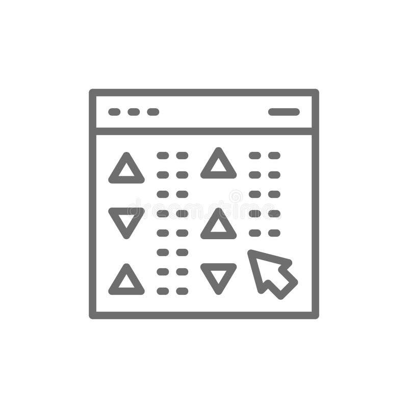 Akcyjne wyceny firmy w czasie rzeczywistym na stronie internetowej, online handlarska platformy linii ikona ilustracji