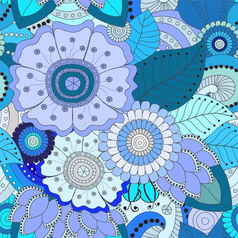 Akcyjnego bezszwowego doodle kwiecisty wzór orient Abstrakcjonistyczny b ilustracja wektor