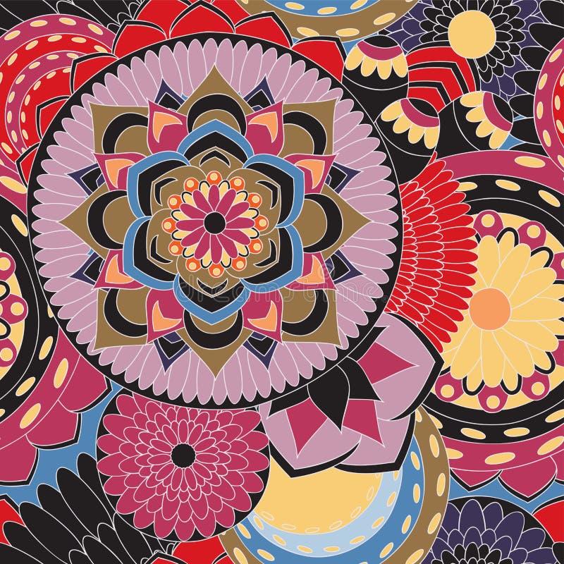 Akcyjnego bezszwowego doodle kwiecisty wzór orient Abstrakcjonistyczny b royalty ilustracja