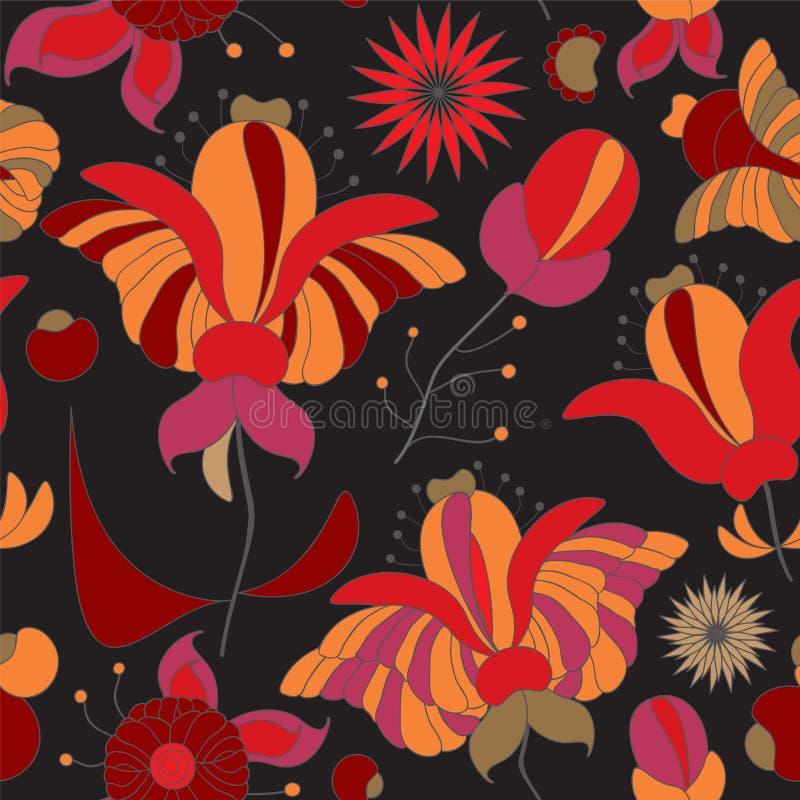 Akcyjnego bezszwowego doodle kwiecisty wzór orient Abstrakt ilustracji