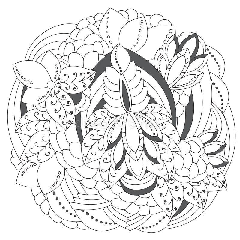 Akcyjnego doodle czarny i biały kwiecisty wzór orient Abst ilustracja wektor
