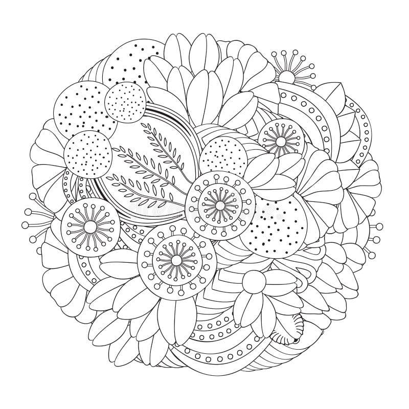 Akcyjnego doodle kwiecisty czarny i biały wzór orient ilustracji
