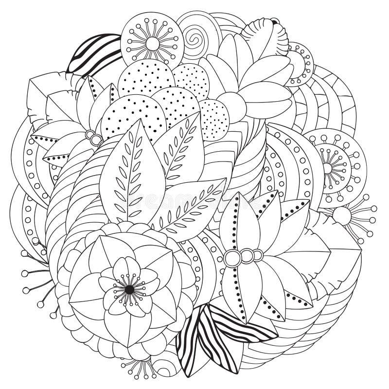 Akcyjnego doodle kwiecisty czarny i biały wzór orient ilustracja wektor