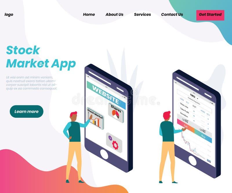 Akcyjnego handlu app dla ludzie biznesu Isometric grafiki poj?cia royalty ilustracja