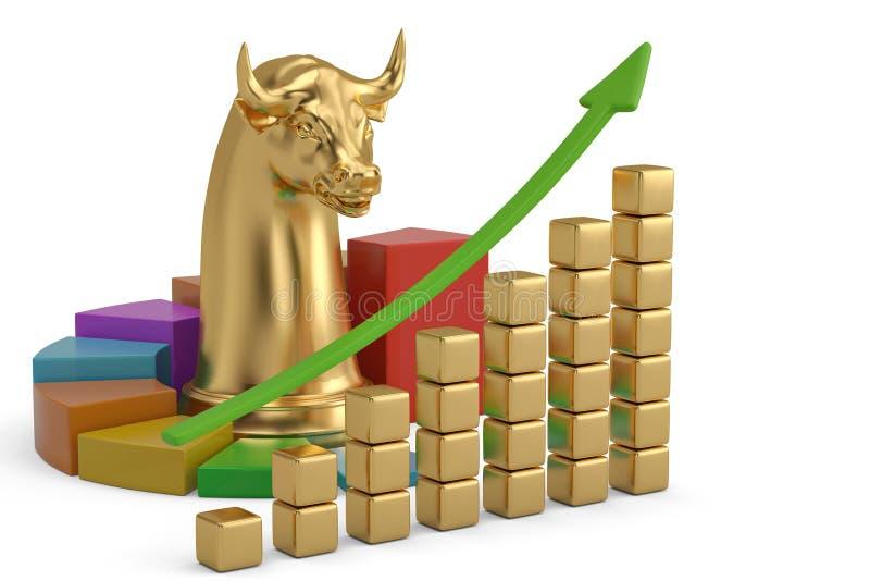 Akcyjnego handlu korporacyjny złocisty byk z mapą ilustracja 3 d royalty ilustracja