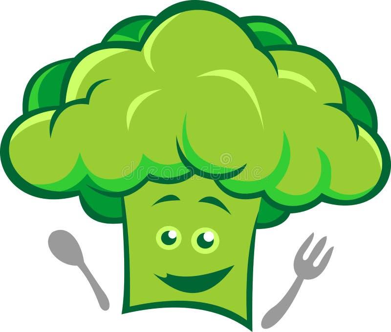 Akcyjni loga szefa kuchni brokuły ilustracja wektor