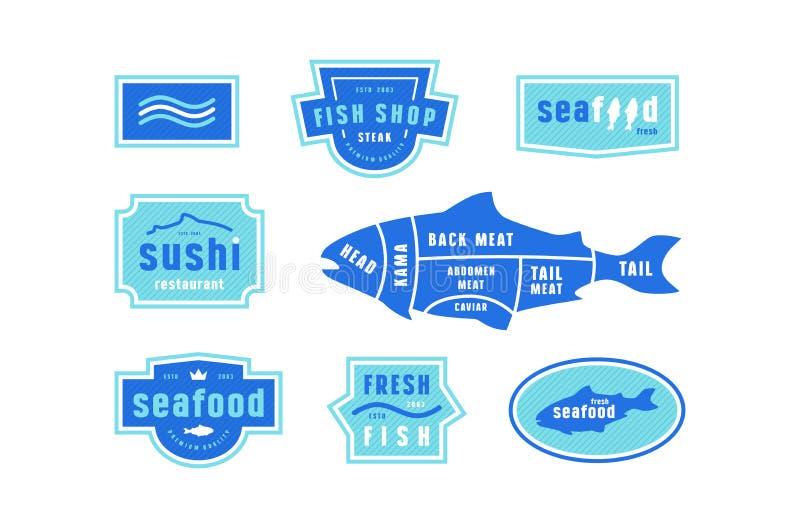 Akcyjni wektor ryba cięcia diagram i etykietka dla owoce morza robią zakupy ilustracji