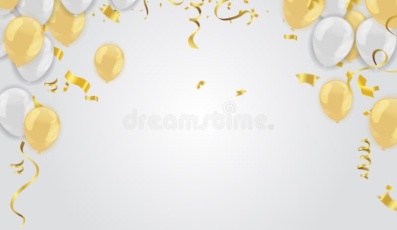 Akcyjni wektorowi ilustracyjni realistyczni defocused złoci confetti, g royalty ilustracja