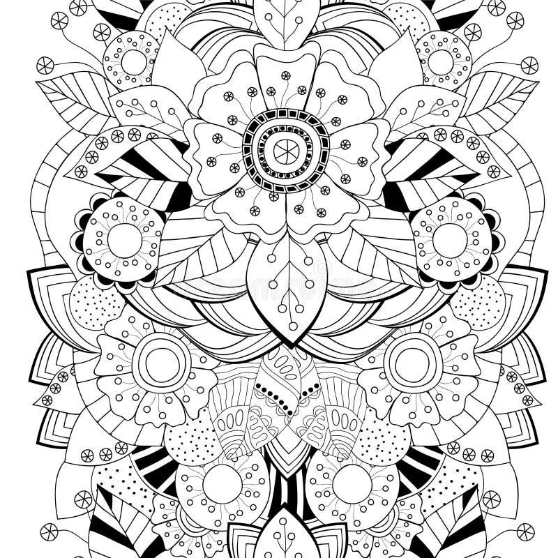 Akcyjny bezszwowy kwiecisty czarny i biały doodle wzór bora ilustracji