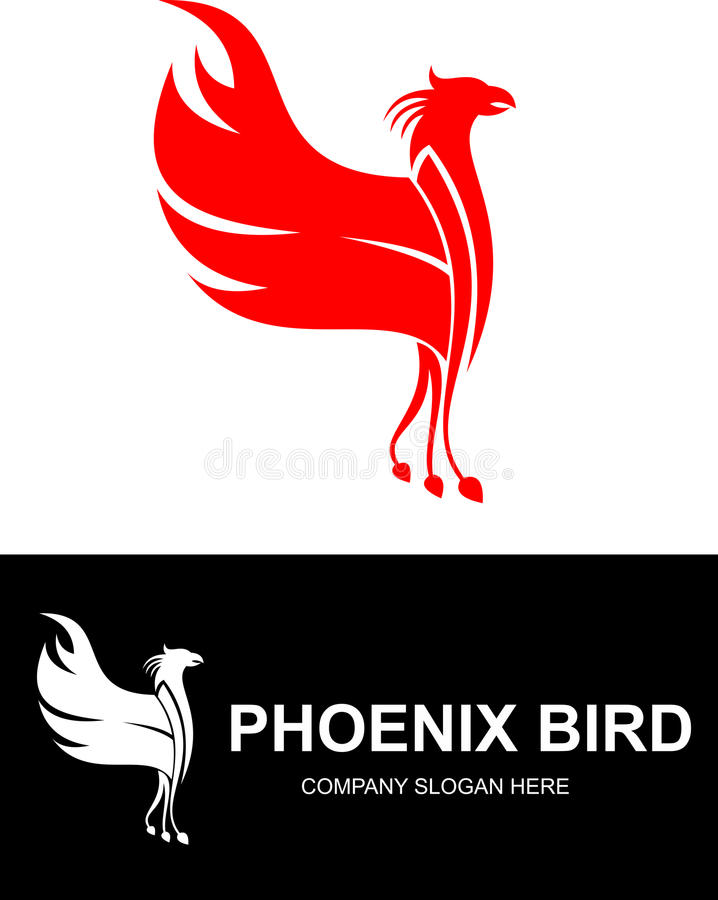 Akcyjny czerwony feniksa ptaka logo ilustracji