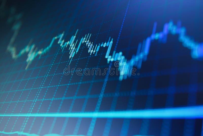 Akcyjny handel żywy Rynku Papierów Wartościowych wykresu i prętowej mapy ceny pokaz Zwyżkowy punkt, Borsukowaty punktu trend wykr obrazy royalty free