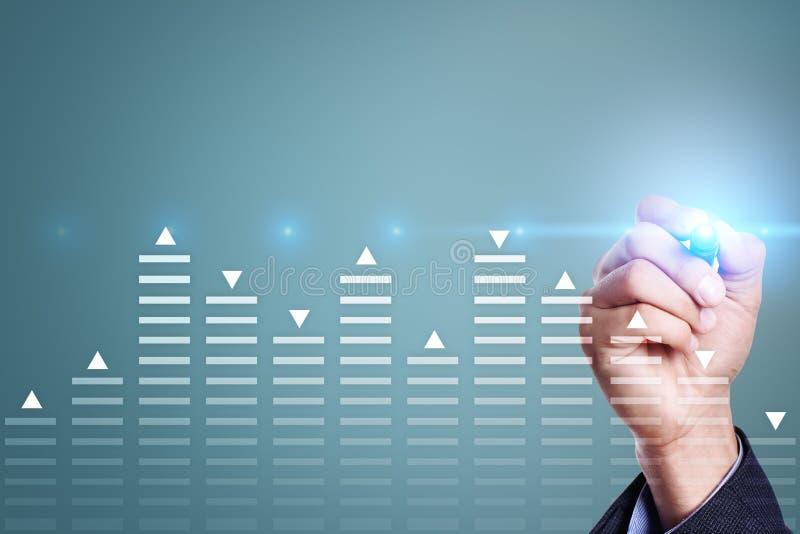 Akcyjny handel, dane analizy diagram, mapa, wykres na wirtualnym ekranie Biznesu i technologii pojęcie obraz royalty free