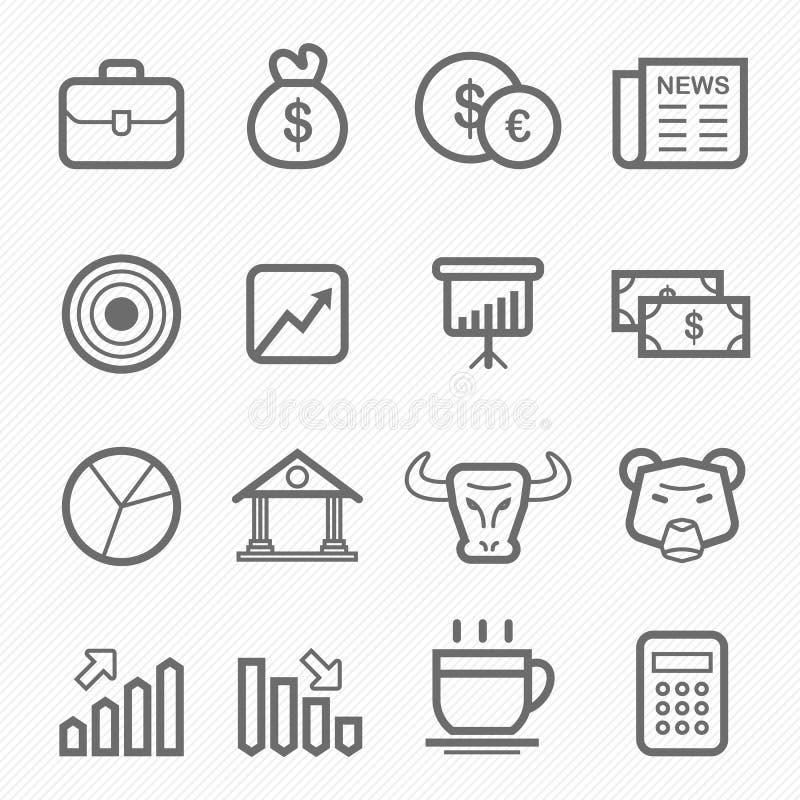 Akcyjny i targowy symbol linii ikony set royalty ilustracja